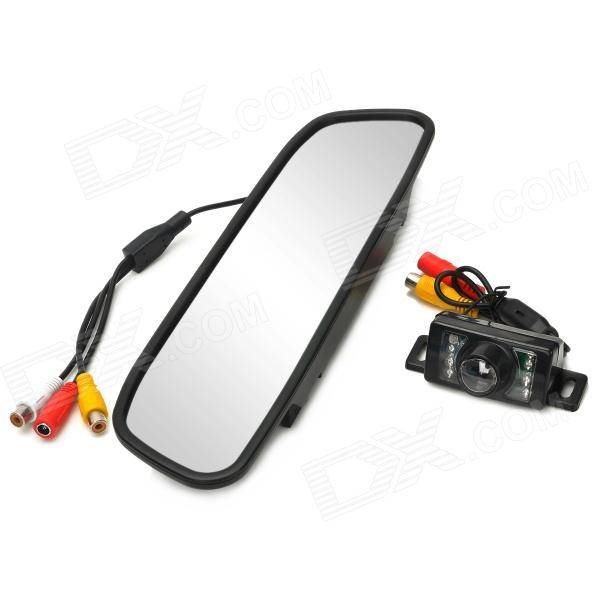 "Waterproof Car 4.3"" Rearview Mirror + Wireless Camera w/ 7-LED IR Night Vision - Black"