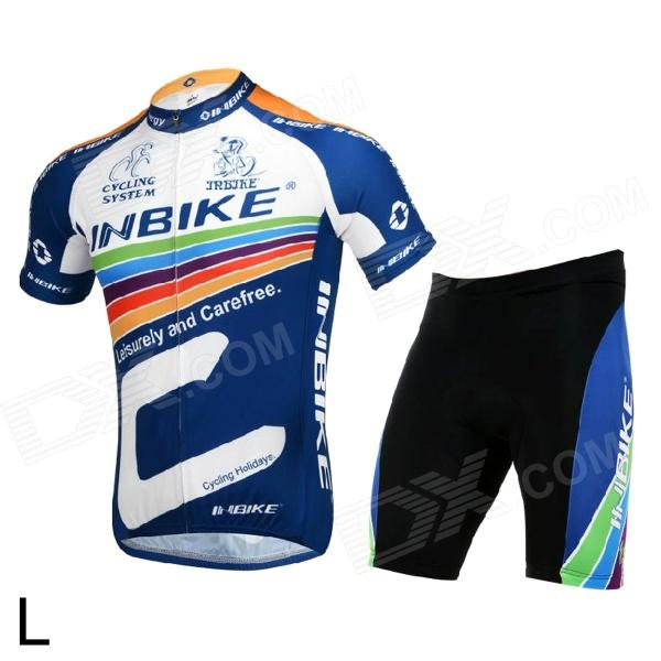 INBIKE lA256 Cycling Polyester + Nylon + Lycra Jersey + Shorts for Men - Black + White + Blue (L)