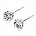 eQute ESIW116  925 Sterling Silver Zircon Excellent Craft Stud Earrings