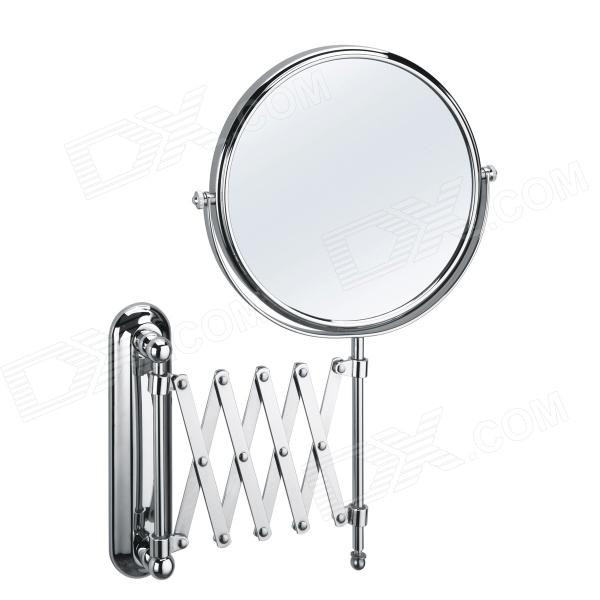 Round 8-inch Chrome Finish Pull Out Wall Mount Two Sided Cosmetic Mirror