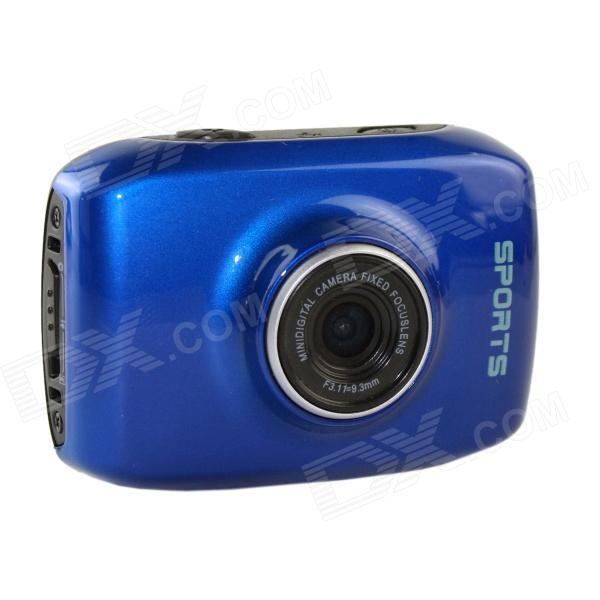 Buy DV123 Outdoor Sports Waterproof HD 2.0 TFT 1.3MP CMOS Camera w/ TF / Mini USB Set - Blue + Black with Litecoins with Free Shipping on Gipsybee.com