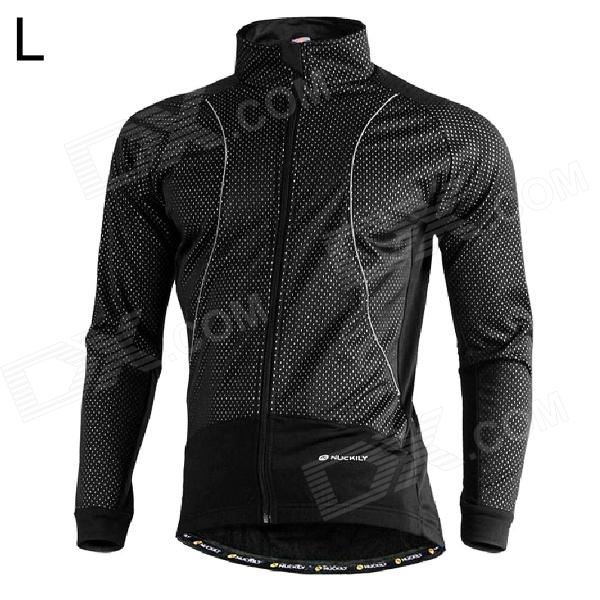 NUCKILY NJ525-W Cycling Windproof Warm Fleece Jacket / Coat for Men - Black (L)
