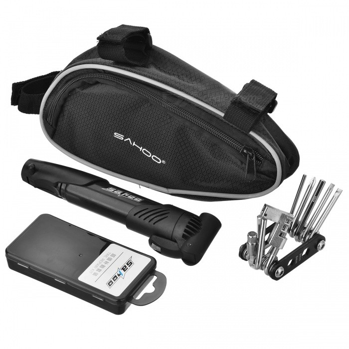 SAHOO 21255 Repair Tool Kit Set w/ Bicycle Pump for Bike - BlackModel21255Quantity1MaterialPlasticForm  ColorBlackPacking List1 x Bag1 x Grinder2 x Levers1 x Tool set1 x Bicycle pump9 x Tyre pads1 x 8ml glue<br>