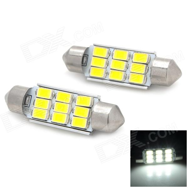 Festoon 39mm 4.5W 180lm 9-SMD 5730 LED White Light Car Reading Lamp - Silver + Yellow (2 PCS / 12V)