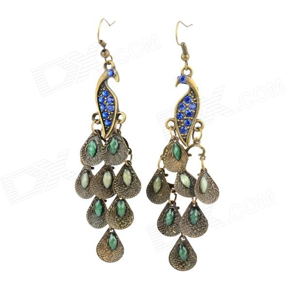 Graceful Peacock Style Crystal Earring for Women - Bronze + BlueEarrings<br>Quantity2Form  ColorAntique BrassMaterialZincGenderWomenSuitable forAdultsLength8.5Width2.5Packing List2 x Earrings<br>