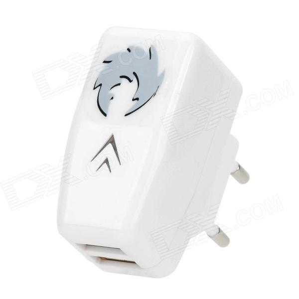 AC Adapter Charger w/ Dual USB Output for Iphone / Ipad + More - White (100~240V / EU Plug)