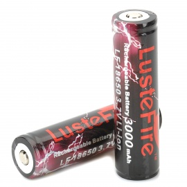 LusteFire Rechargeable Protected 3000mAh Li- Ion 18650 Battery (2PCS)