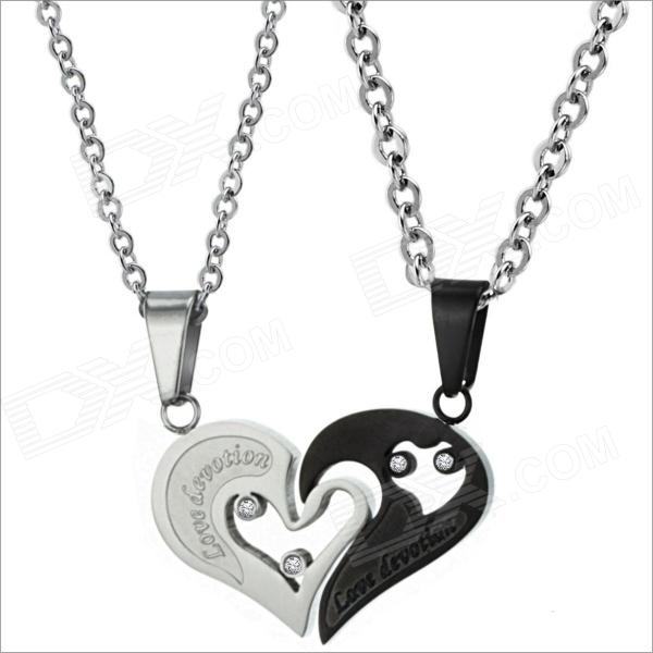 GX537-Fashionable-Personality-Heart-Style-Titanium-Steel-Couples-Necklaces-Silver-2b-Black-(2-PCS)