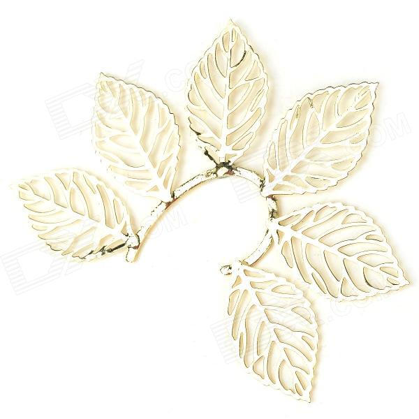 Large Hollow out Leaf Style Zinc Alloy Women's Ear Hook - Golden