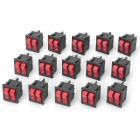A054 ganged Rocker Switch w / LED-indikator - Svart + Röd (15 PCS)