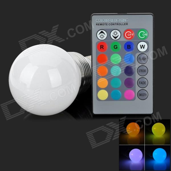 LED3Wb-RGB E27 3W 150lm 3-LED RGB Light Decoration Lamp - White (85~265V)ModelLED3WbMaterialAluminiumForm  ColorWhiteQuantity1Power3WConnector TypeE27,E2,OthersChip BrandOthersEmitter TypeLEDTotal Emitters1Color BINRedColor Temperature12000K,OthersDimmableNoWavelengthRedPacking List1 x LED bulb1 x Remote controller (CR2025 battery included)<br>