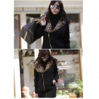 J422 Woman's Fashionable Warm Cotton Jacket w/ Leopard Patterned Hood - Black (M)