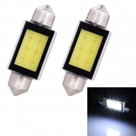 Festoon 39mm 6W 420lm 6-COB LED White Car Reading / Dome Light (2PCS)