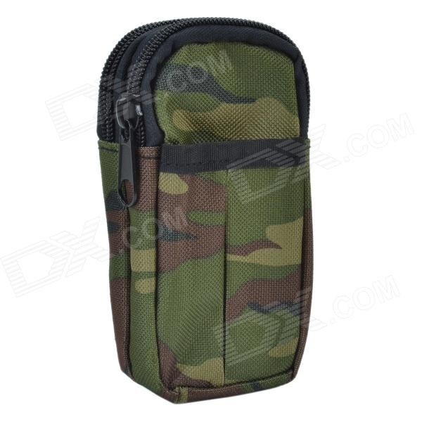 800D Water Resistant Dual-Compartment Mobile Phone Carrying Bag - Army Green Camouflage
