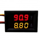 "Jtron 0.28"" LED 4-Digit Dual-Display DC Ammeter Voltmeter - (Red Volt / Yellow Amp / 0~100V / 10A)"