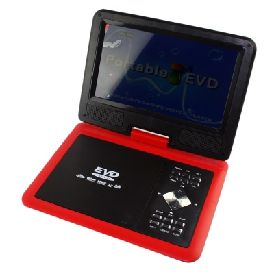 """FJD-960 Portable 9"""" LCD Mobile DVD Player w/ TV, FM, SD Card Reader, Game and USB - Red"""