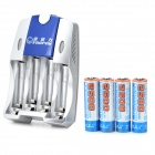 VIWIPOW US Plugs Battery Charger + 4 2500mAh Rechargeable AA Battery Set - Silver + Blue