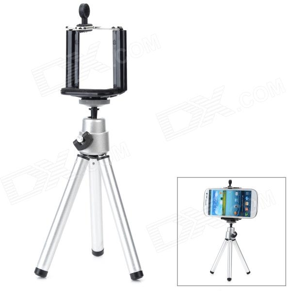 Small Desktop Cellphone Holder + Tripod for Samsung / HTC / Xiaomi + More - Silver + Black