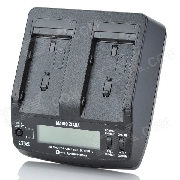 "BC-BQ1051C 2.4"" LCD Dual-Battery Charger for Sony F550 / F750 / F950 - Black"