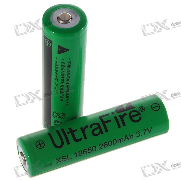 UltraFire 18650 3.7V 2600mAh Lithium Batteries (2PCS)