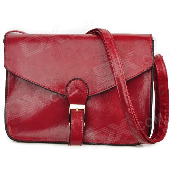 Ladys-PU-Leather-One-Shoulder-Bag-Red