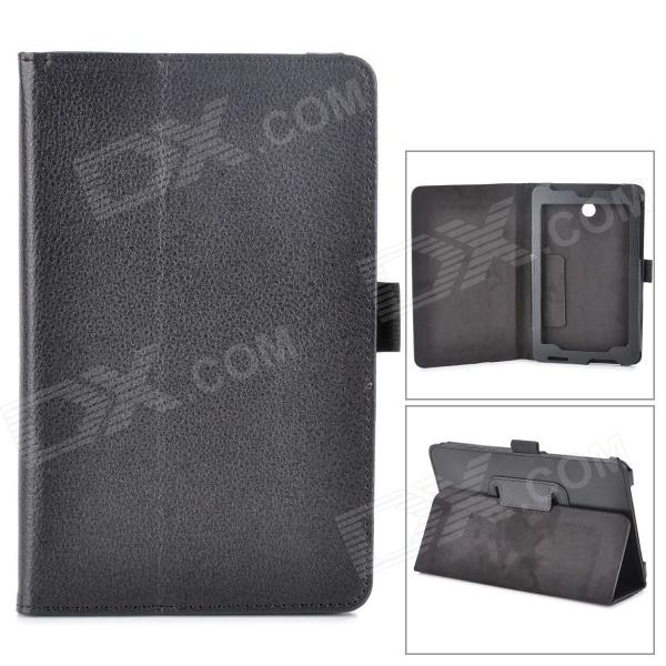 Lychee Grain Style PU Leather Case w/ Stylus Pen Holder for Asus FonePad HD 7 ME372CG - Black