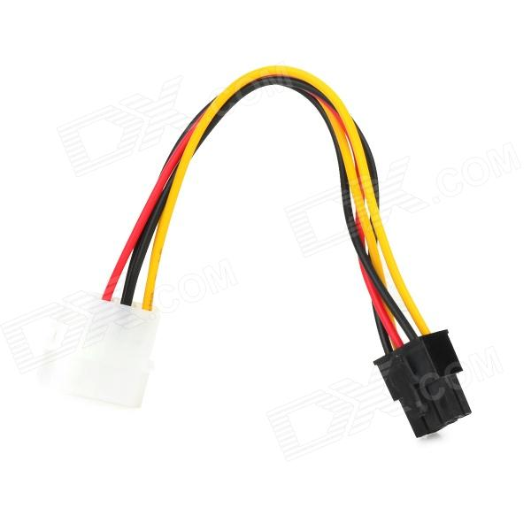 4-pin Male to 6-pin Female to Computer Power Extension Cable - Multicolored (15cm)