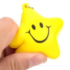 X-2 Cute Soft Silicone Smiley Star Pendant Keychain - Yellow + Black