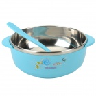 LX8854 Portable Stainless Steel + Plastic Travel Insulation Bowl - Light Blue + Silver