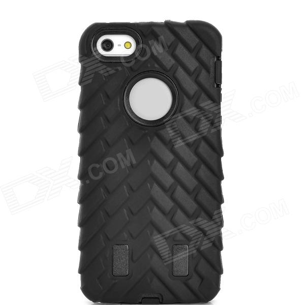 Detachable Tyre Tread Style Protective Silicone + PC Case for Iphone 5 / 5s - Black