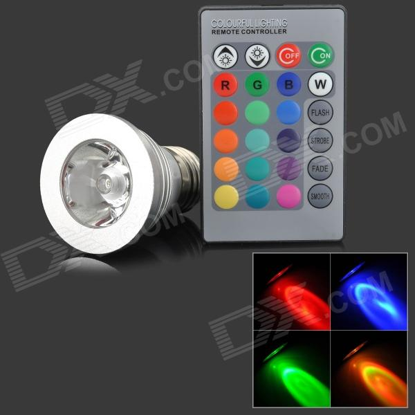 CJ-SD-002 E27 3W 150lm 1-LED RGB Light Spotlight w/ Remote Controller - Silver (85~265V)