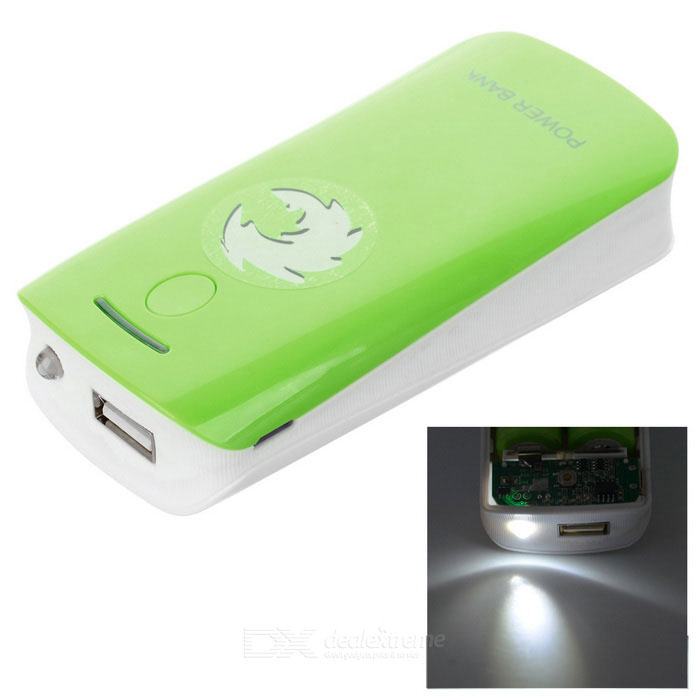 Buy 2 x 18650 Battery Holder External Power Charger w/ 1-LED Flashlight / Indicator Light - Green with Litecoins with Free Shipping on Gipsybee.com