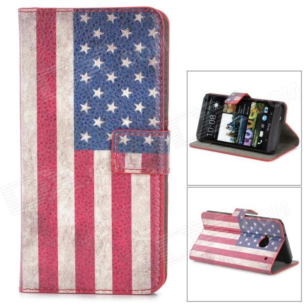 Stylish US Flag Pattern Flip-open PU Purse Case w/ Card Slot + Holder for HTC One M7 - Multicolored