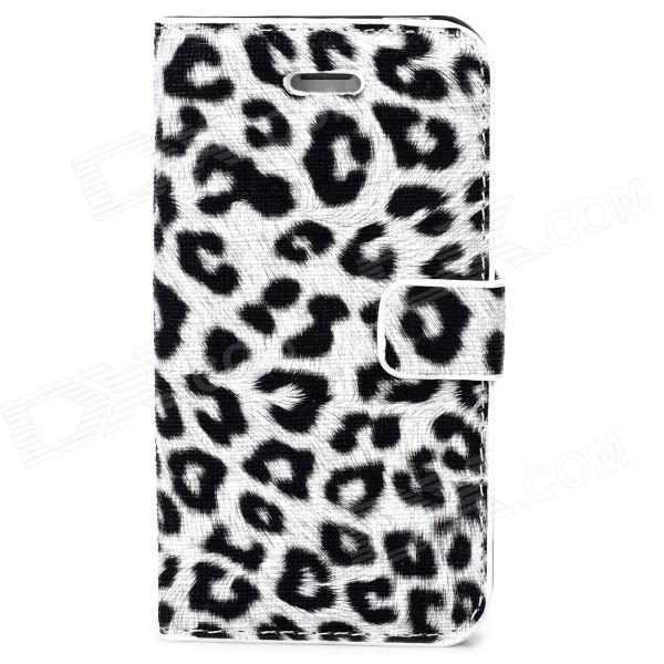 Stylish Leopard Style Protective PU Leather + Plastic Case for Iphone 4 / 4S - White + Black
