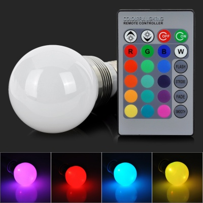 LED4Wb-RGB E27 4W 220lm LED RGB Light Bulb w/ Memory Function / Remote