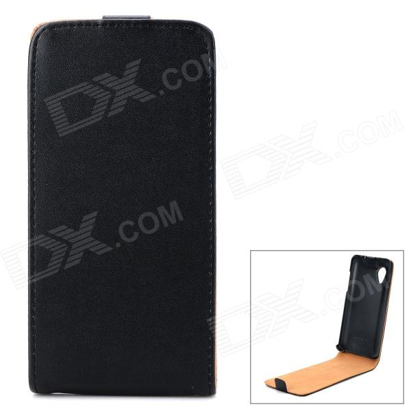 Buy Protective Split Cow Leather Top Flip Case for LG Nexus 5 E980 - Black with Litecoins with Free Shipping on Gipsybee.com