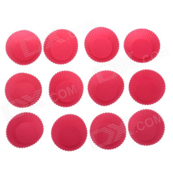 Cute Silicone DIY Cake / Dessert Mould - Deep pink (12 PCS)