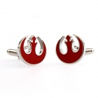Alliance Starbird Plating Enamel Cufflinks - Silver + Red (Pair)