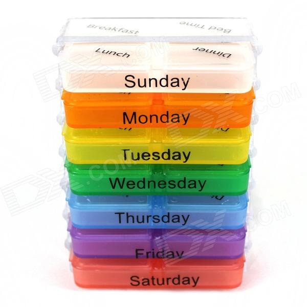 Buy 7-Day Plastic Medicine Organizer Box - Multicolored with Litecoins with Free Shipping on Gipsybee.com