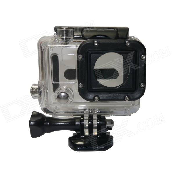 BZ86 Side Opening Protective Case for Gopro Hero3 / 3+ - Black + TransparentBags &amp; Cases<br>Form  ColorTransparentModelBZ86MaterialPlastic + stainless steelQuantity1 DX.PCM.Model.AttributeModel.UnitCompatible BrandGoproCompatible ModelsHero3 / 3+Water ResistantFor daily wear. Suitable for everyday use. Wearable while water is being splashed but not under any pressure.Anti-ShockYesSizeSInner DimensionLength: 6cm, width: 4.5cm, height: 2cmPacking List1 x Protective case (without lens)<br>