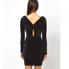 Style Fashion Shimmering Long-sleeved Round Neck Mini Dress for Women - Black (Free size)