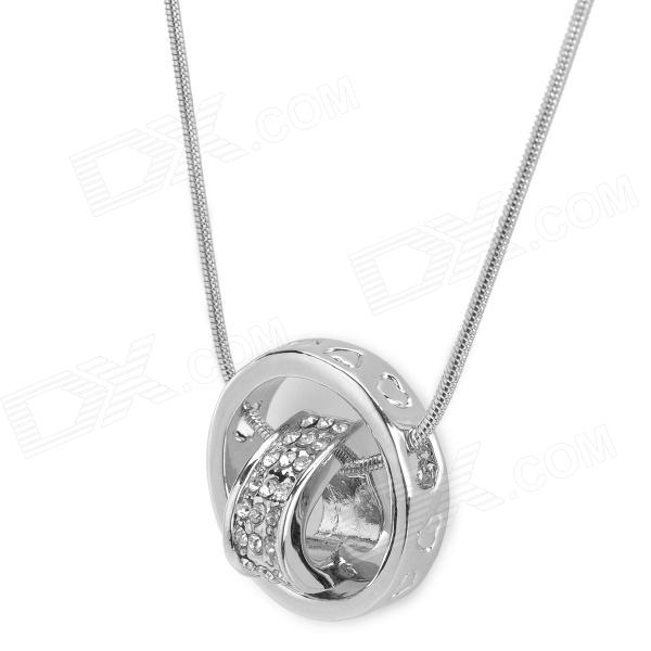 White Gold Plated Alloy Rhinestones Heart Shaped Ring Pendant