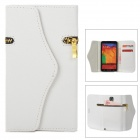 Stylish Zipper Detail PC + PU Leather Purse Case for Samsung Galaxy Note 3 - White