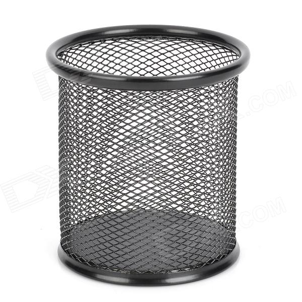 Business Style Stainless Steel Net Round Pen Holder Black