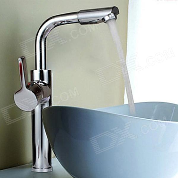 YDL-F-0520 Fashionable Bathroom Rotatable Countertop Sink Faucet - SilverBath Faucets<br>Form ColorSilverModelYDL-F-0520MaterialBrassQuantity1 DX.PCM.Model.AttributeModel.UnitFinishChromeFaucet Spout MaterialBrassFaucet Body MaterialBrassFaucet Handle MaterialBrassStyleContemporaryOther FeaturesInstallation Type: Vertical;<br>Installation Holes: One Hole;<br>Number of Switches: Single Handle; <br>Valve Type: Ceramic;<br>Standard 1/2 Threads;<br>Spout Height: 37cm;<br>Handle Length: 10cm.Packing List1 x Faucet2 x Stainless steel tubes (50cm) 1 x Heightening Screw nut1 x English user manual<br>