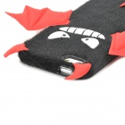 Cute Cartoon Devil Style Silicone + Lint Back Case for Iphone 5 / 5s - Black