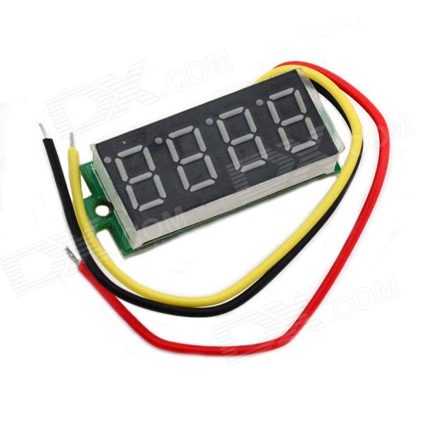 "Jtron 0.36"" LED 4-Digit Green Display Two-Wire Four Digital Voltmeter - Black (3.5~30.00V)"