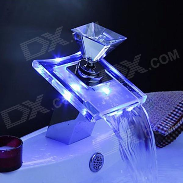 YDL-F-0515 Temperature Visualizer LED RGB Color Changing Waterfall Bathroom Sink Faucet - SilverBath Faucets<br>Form  ColorSilverModelYDL-F-0515MaterialBrass + GlassQuantity1 DX.PCM.Model.AttributeModel.UnitFinishChromeFaucet Spout MaterialGlassFaucet Body MaterialBrassFaucet Handle MaterialGlassStyleContemporaryOther FeaturesInstallation Type: Vertical;<br>Feature: Waterfall taps; <br>Installation Holes: One Hole;<br>Number of Switches: Single Handle; <br>Valve Type: Ceramic;<br>Standard 1/2 Threads;<br>LED Color: Blue, purple, Red;<br>Spout Height: 6.5cm;<br>Spout Width: 10.5cm;<br>Spout Length: 7.8cmPacking List1 x Faucet1 x Battery Box2 x Gaskets1 x Washer2 x Threaded rods5 x Screws1 x Screw cap1 x English user manual<br>