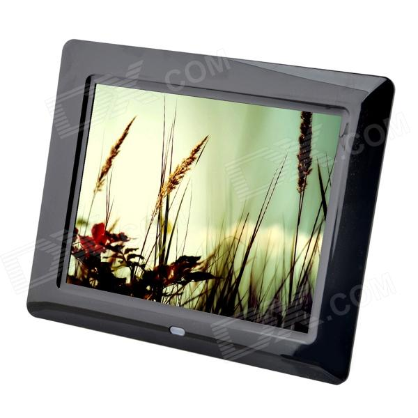 C131021001 8 TFT Desktop Digital Photo Frame w/ SD / 3.5mm - Black (US Plugs)Digital Photo Frames<br>Form ColorBlackModelC131021001MaterialPlasticQuantity1 DX.PCM.Model.AttributeModel.UnitScreen Size8 DX.PCM.Model.AttributeModel.UnitScreen Pixels800 x 600Display Mode4:3Screen TypeTFTBuilt-in Memory / RAMOthers,16MBSupports Card TypeSDMax Extended Capacity32GBVideoAVI,DAT,MPEG,MPG,VOBAudio Compression FormatMP3,WMAHeadphone Jack3.5mmPower AdapterUS PlugsPower Supply100~240VOther FeaturesThe remote control uses a button battery. Battery voltage is 3V, capacity 150mAh.Packing List1 x Digital photo frame1 x 2-flat-pin plug power adapter (100V~240V, 120cm)1 x English user manual1 x Remote controller<br>