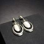 EQute EPEW20C1 Elegant Cat's Eye Silver Drop Earrings for Woman - White + Silver (Pair)